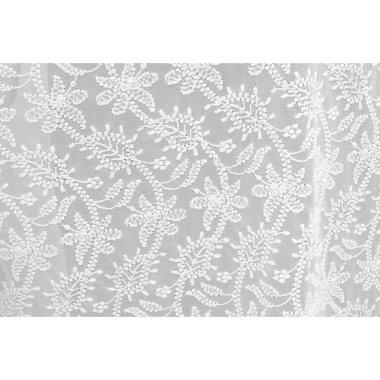 White on White Shadow Work Georgette Embroidered Dupatta D0949
