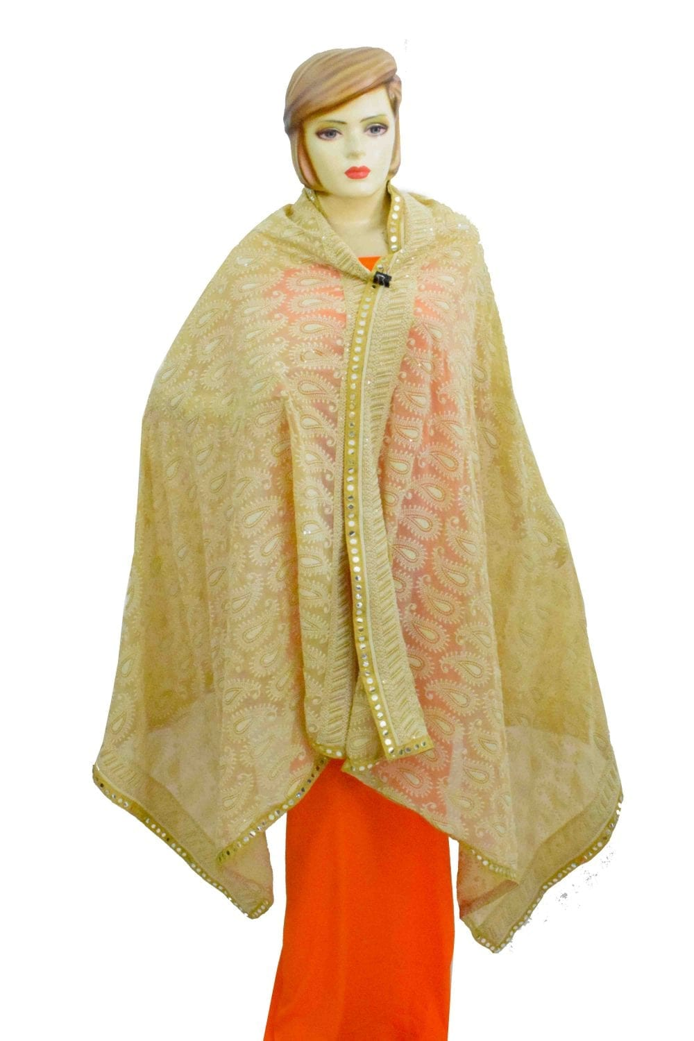 Beige on Beige Shadow Work Georgette Embroidered Dupatta D0950 1