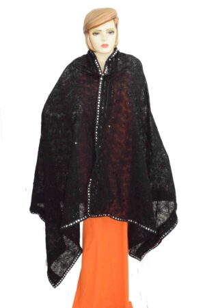Black on Black Shadow Work Georgette Embroidered Dupatta D0956