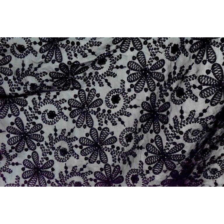 Black on Black Shadow Work Georgette Embroidered Dupatta D0956