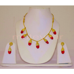 ORIGINAL GOLD PLATED Traditional Punjabi Dakh set with Red Stones