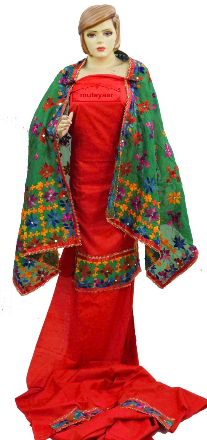 Party Wear Jaam Cotton Hand Embroidered Salwar kameez stole suit set F0762 1