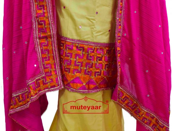 Party Wear Jaam Cotton Hand Embroidered Salwar kameez stole suit set F0763