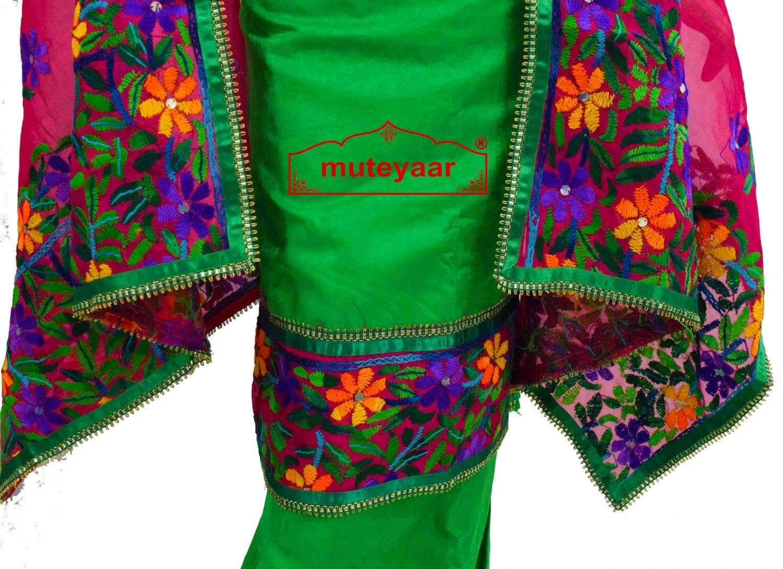 Party Wear Jaam Cotton Hand Embroidered Salwar kameez stole suit set F0764 2