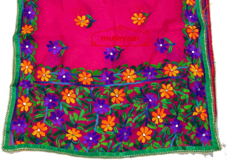 Party Wear Jaam Cotton Hand Embroidered Salwar kameez stole suit set F0764 3