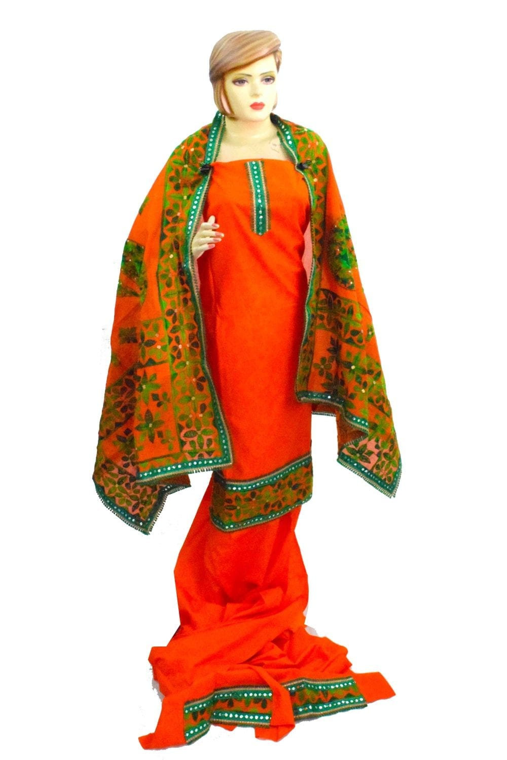 Orange Suit Kantha Work Hand Embroidered Salwar kameez stole set F0766 1