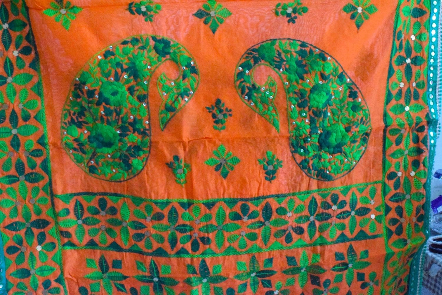 Orange Suit Kantha Work Hand Embroidered Salwar kameez stole set F0766 2