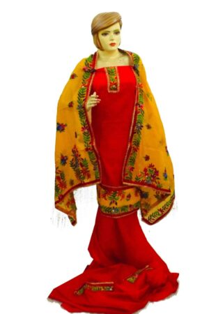 Red Suit Kantha Work Hand Embroidered Salwar kameez stole set F0768