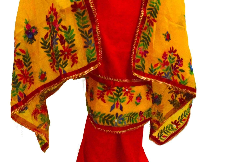 Red Suit Kantha Work Hand Embroidered Salwar kameez stole set F0768 2