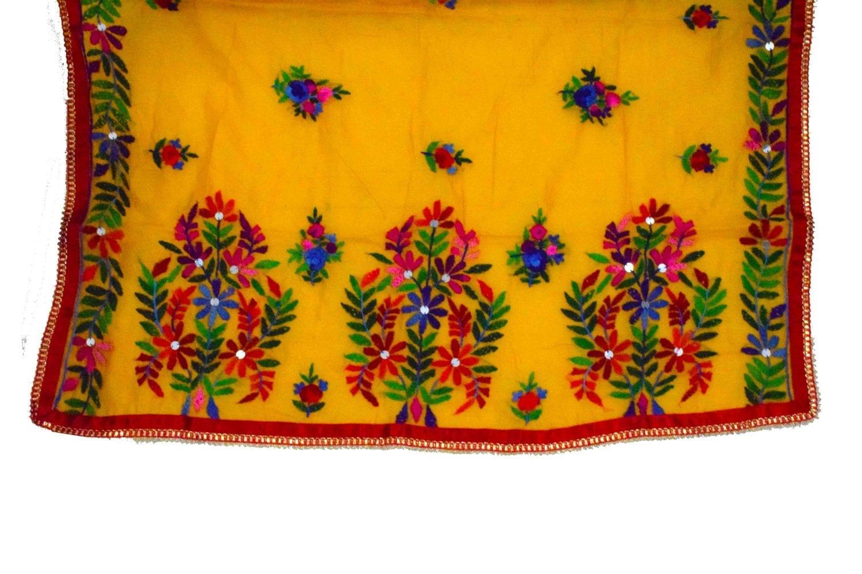 Red Suit Kantha Work Hand Embroidered Salwar kameez stole set F0768 3
