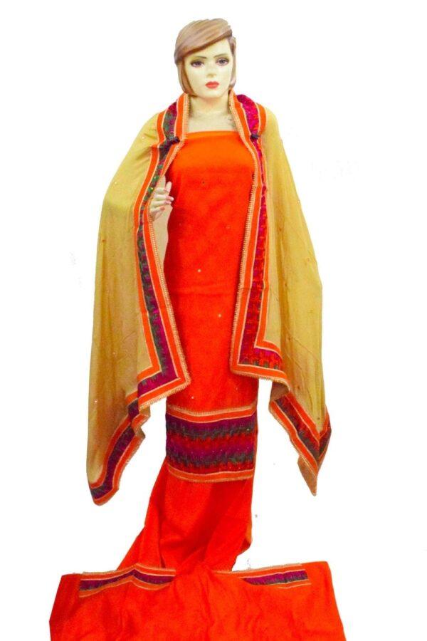 Jaquard Cotton Phulkari Hand Embroidered Salwar kameez stole suit set F0770