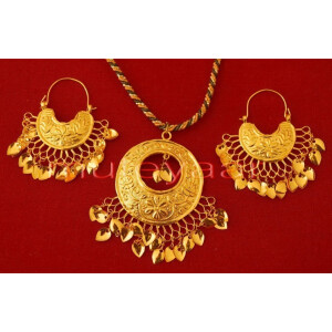 24 Ct. Gold Plated Punjabi Traditional Necklace Earrings set J0119