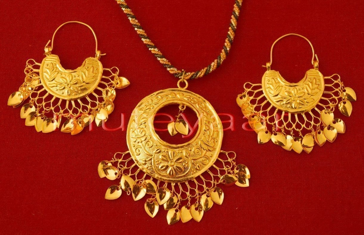 24 Ct. Gold Plated Punjabi Traditional Necklace Earrings set J0119 1