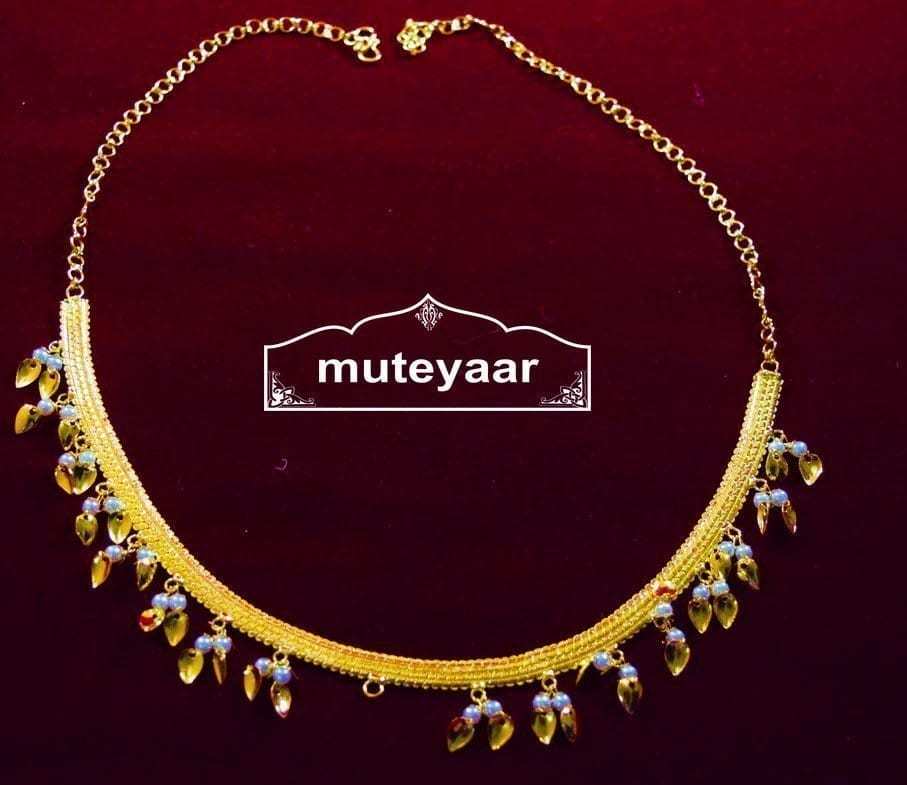 Gold Polished Neck Chain / Payal with white beads J0326 1