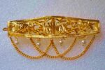 Gold Polished Party Wear Long Hair Clip J0381