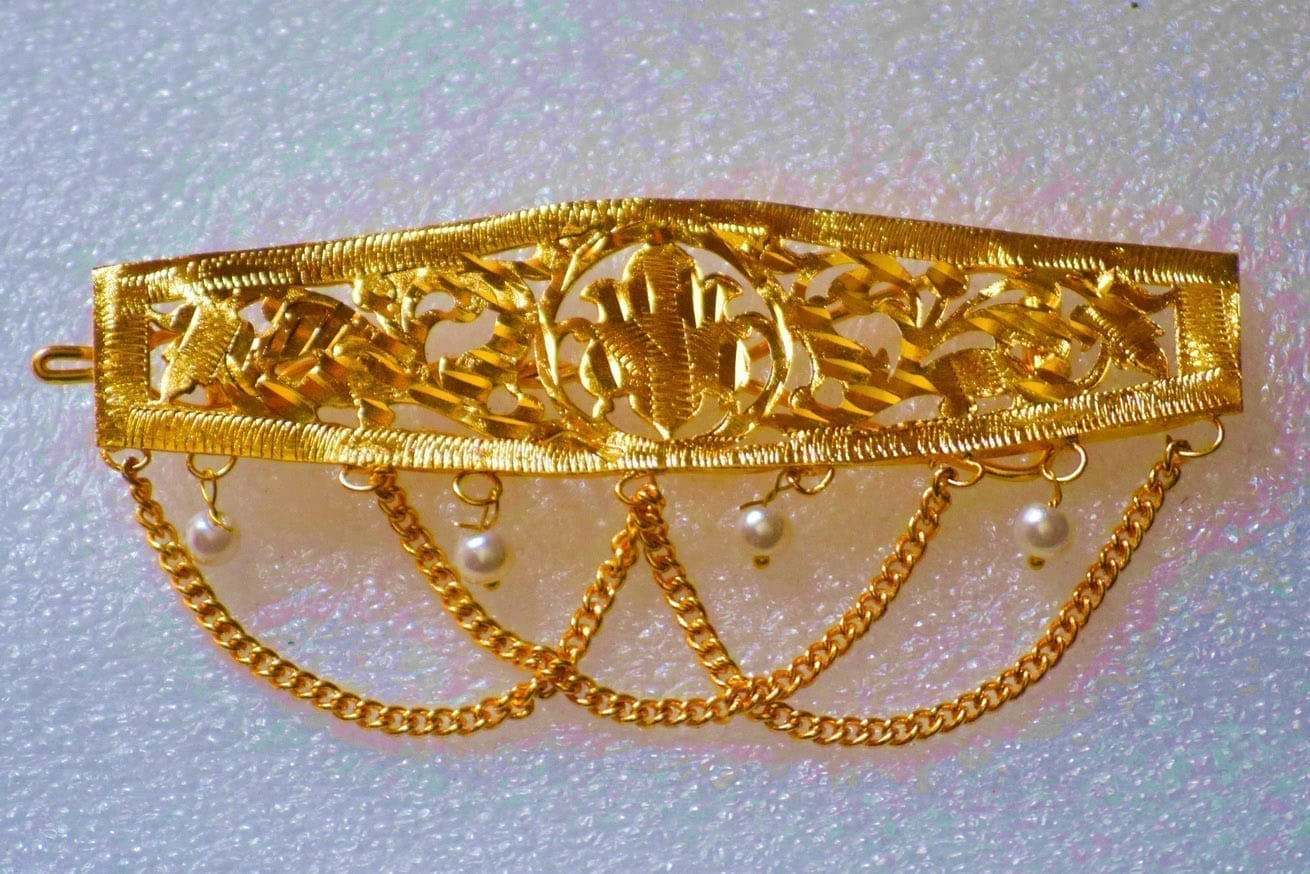 Gold Polished Party Wear Long Hair Clip J0381 1