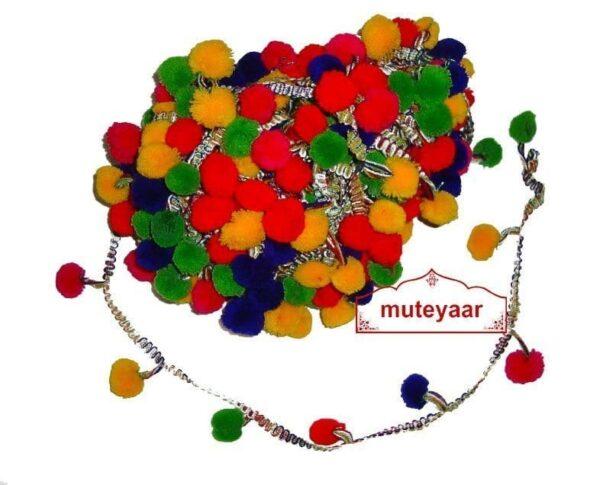 Multicolor Laddoo Pom Pom Balls kinari Lace LC055 (per meter price)
