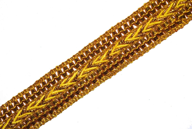 One Inch Wide Golden Zari Lace Kinari Roll of 9 meters LC099 2