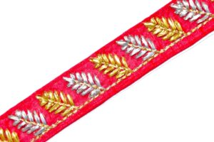 Red Lace 30 mm width Designer Embroidered Kinari 9 meters Length Roll LC123