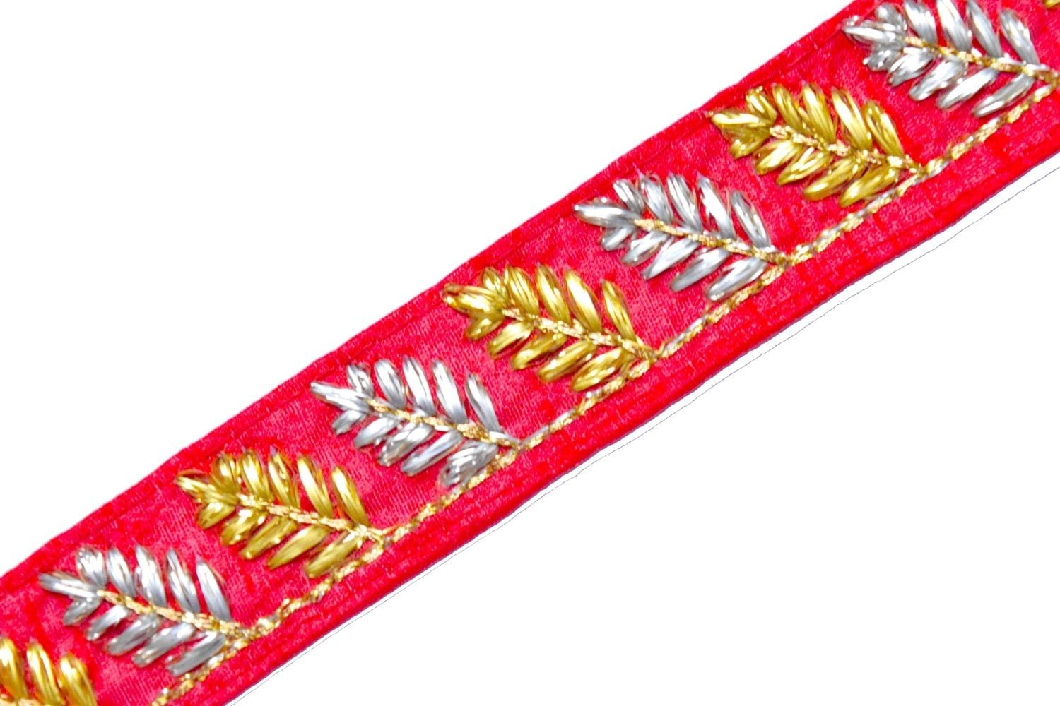 Red Lace 30 mm width Designer Embroidered Kinari 9 meters Length Roll LC123 1