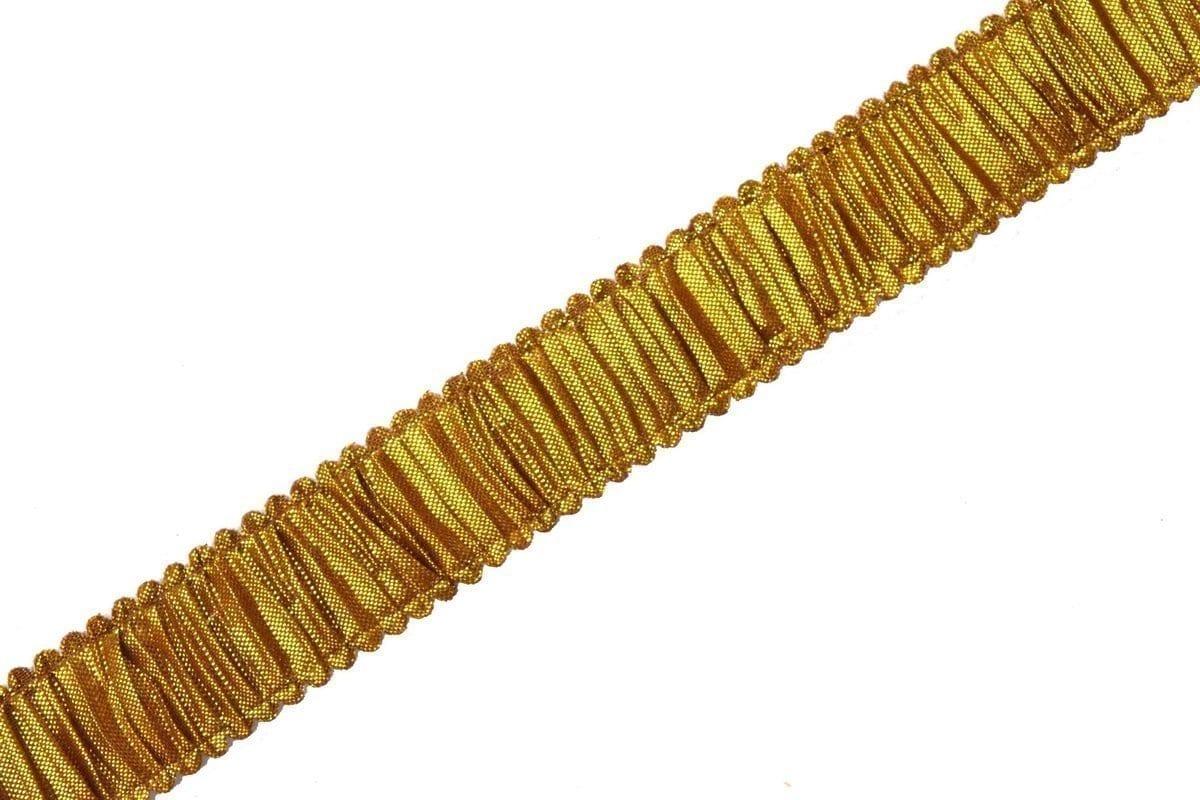 Antique Golden Crushed Gota Lace 1 inch width Designer Kinari 9 meters Length Roll LC133 1
