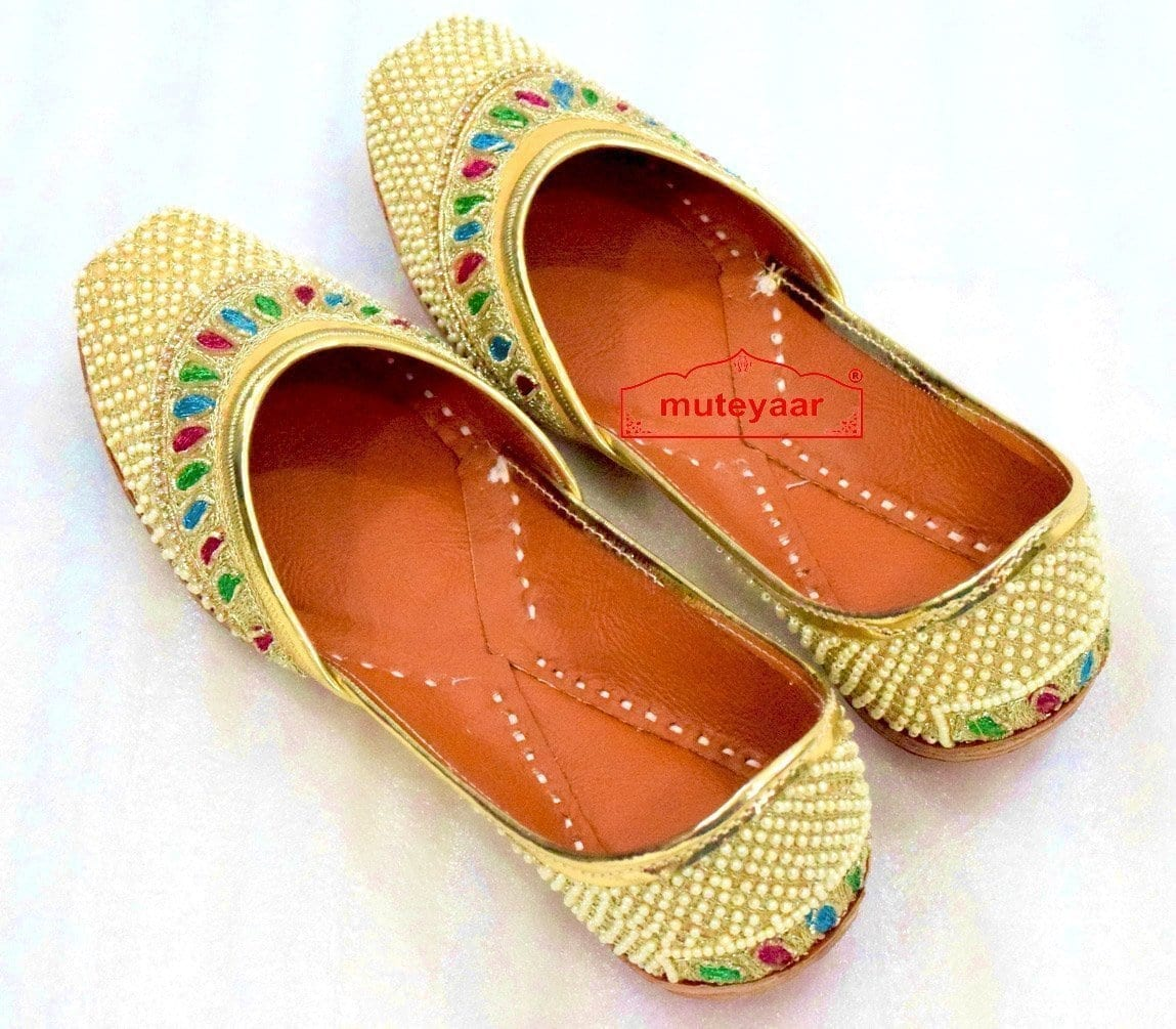 Punjabi Jutti Cream Moti Embroidery Leather Mojari PJ9816 1