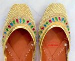 Punjabi Jutti Cream Moti Embroidery Leather Mojari PJ9816
