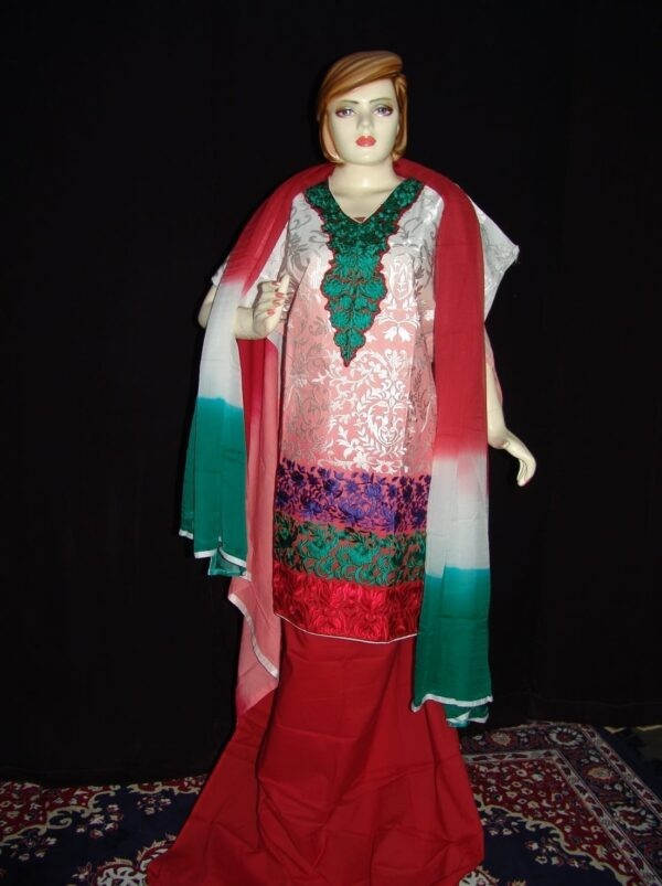 3D heavy thread embroidered party wear cotton Punjabi Suit F0524