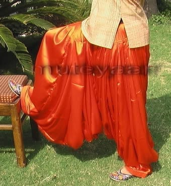 Maharani Orange Satin Silk Patiala Salwar - Custom Stitched 3