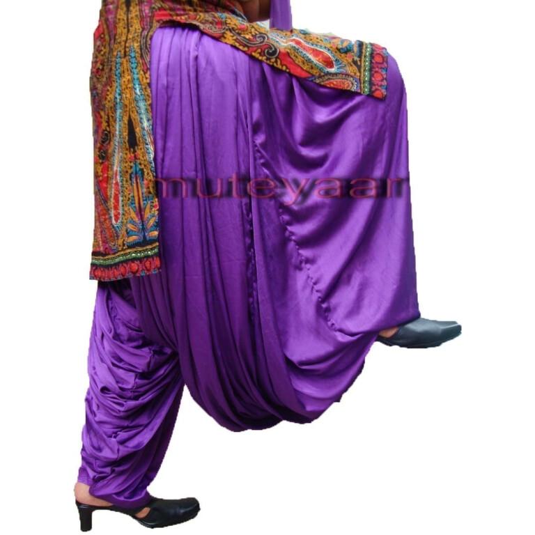 Maharani PURPLE Satin Silk Patiala Salwar