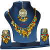 Traditional Punjabi Jewellery 24 Ct. Gold Plated Necklace Earrings Tikka set J0398