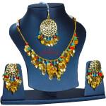 Traditional Punjabi Jewellery 24 Ct. Gold Plated Necklace Earrings Tikka set J0398