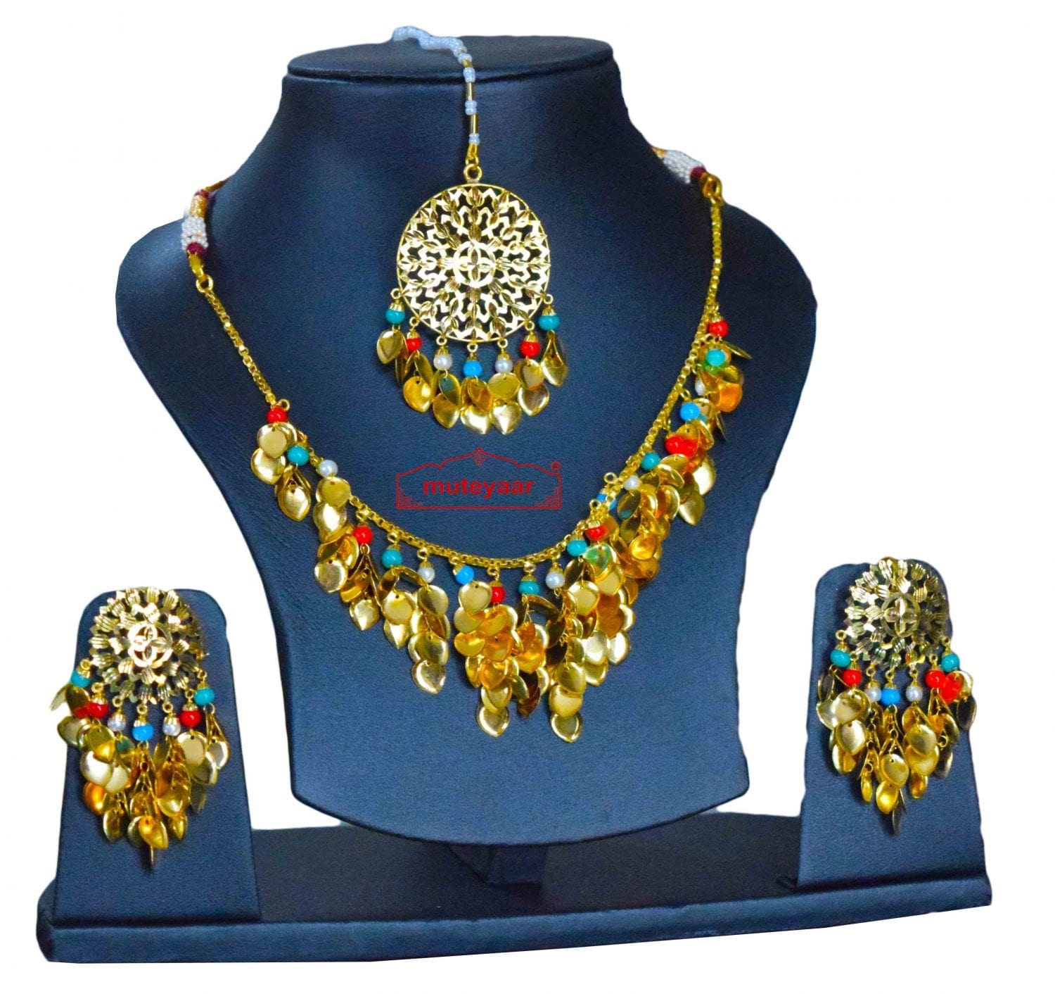 Traditional Punjabi Jewellery 24 Ct. Gold Plated Necklace Earrings Tikka set J0398 1