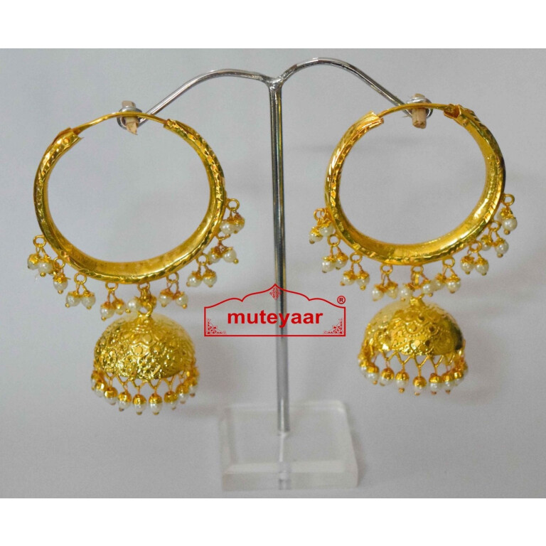Gold Polished Dangles Jhumka Waliyaan Lotan Bali set with white beads J0400