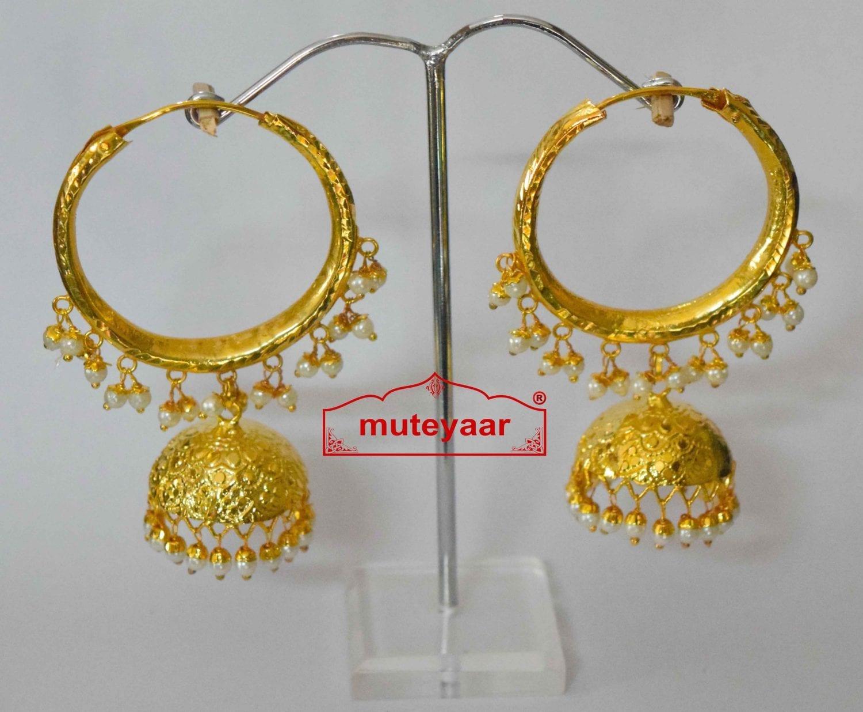 Gold Polished Dangles Jhumka Waliyaan Lotan Bali set with white beads J0400 1
