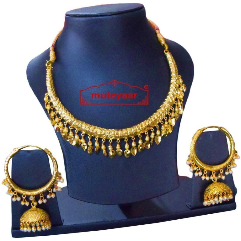 Gold Polish Traditional Punjabi jewellery Hasli Necklace & Lotan Bali set J0401