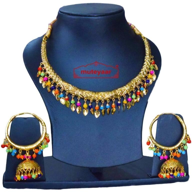 Gold Polish Multicolour Traditional Punjabi jewellery Hasli Necklace & Lotan Bali set J0402