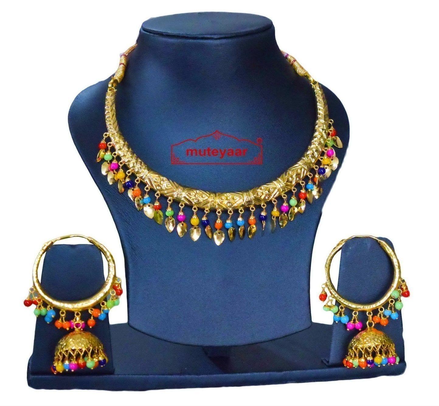 Gold Polish Multicolour Traditional Punjabi jewellery Hasli Necklace & Lotan Bali set J0402 1