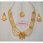 Maharani Haar Giddha Jewelery Set of Necklace + Earrings + Tikka