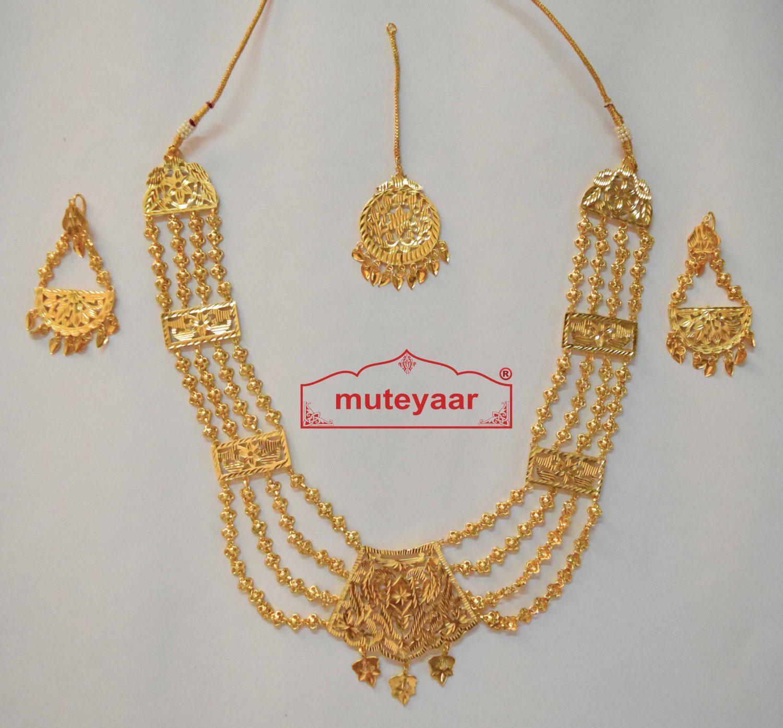 Maharani Haar Giddha Jewelery Set of Necklace + Earrings + Tikka 2