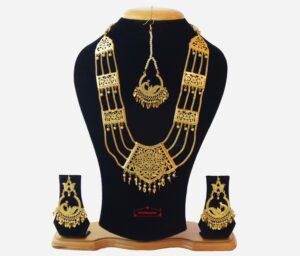 Maharani Haar Bhangra Giddha Jewelery set of Necklace + Earrings + Tikka