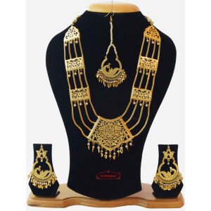 Maharani Haar Giddha Jewelery Set of Necklace + Earrings + Tikka