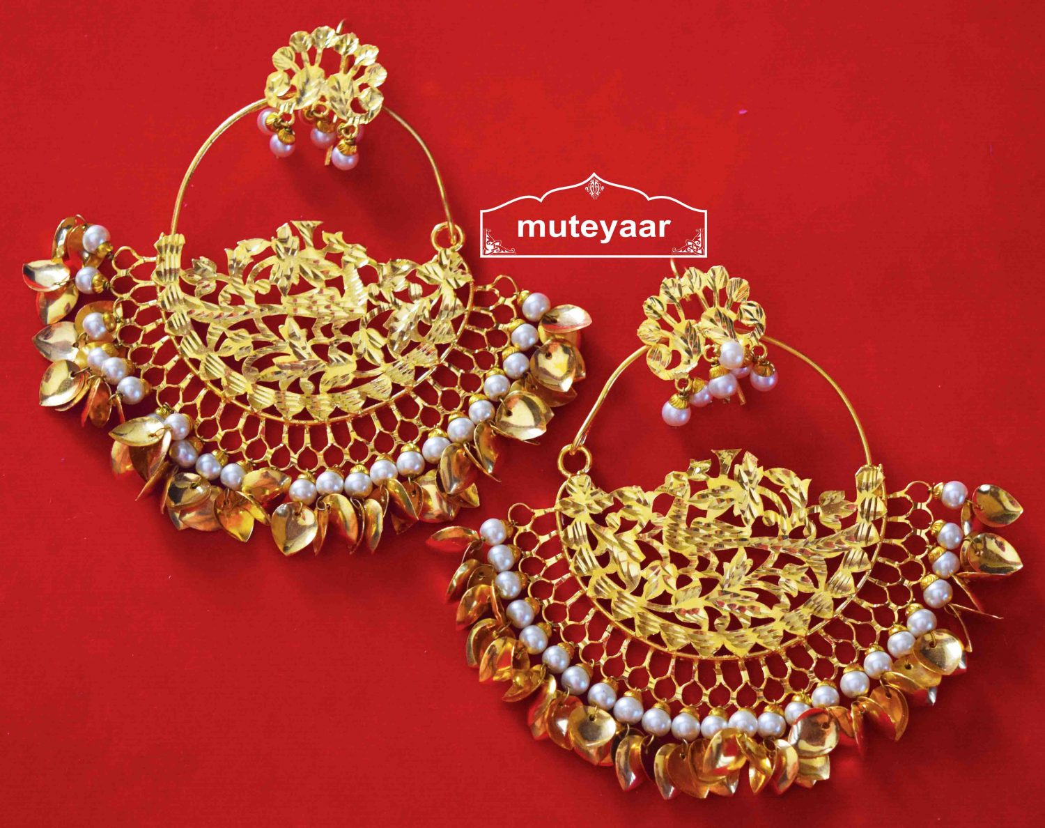 Hand Made 24 ct. Gold Plated Traditional Punjabi Jewellery Morewali Earrings Jhumka J0216 1