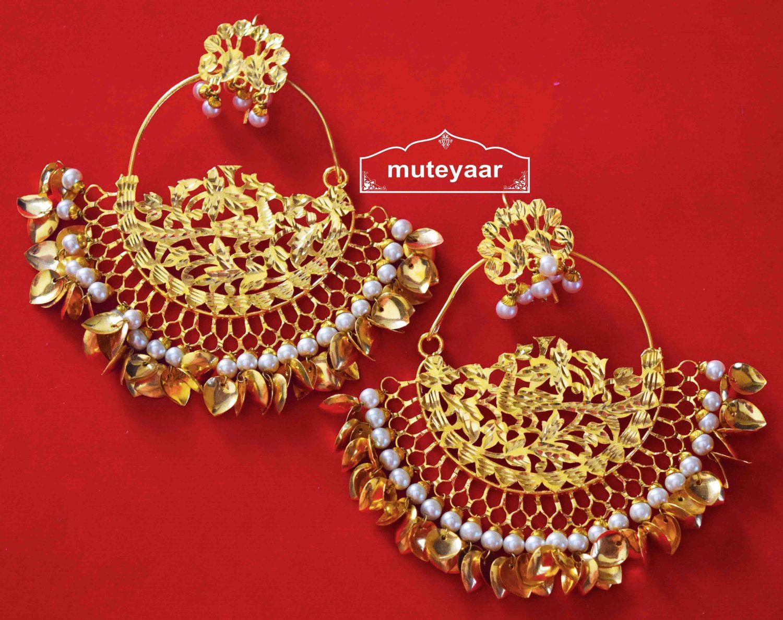 Hand Made 24 ct. Gold Plated Traditional Punjabi Jewellery Morewali Earrings Jhumka J0216 1