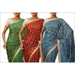 Phulkari Saree with Sequins Work