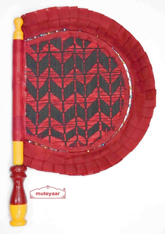 Traditional Punjabi Frill Pakhi Hand Fan size 16 inch length T0217 1