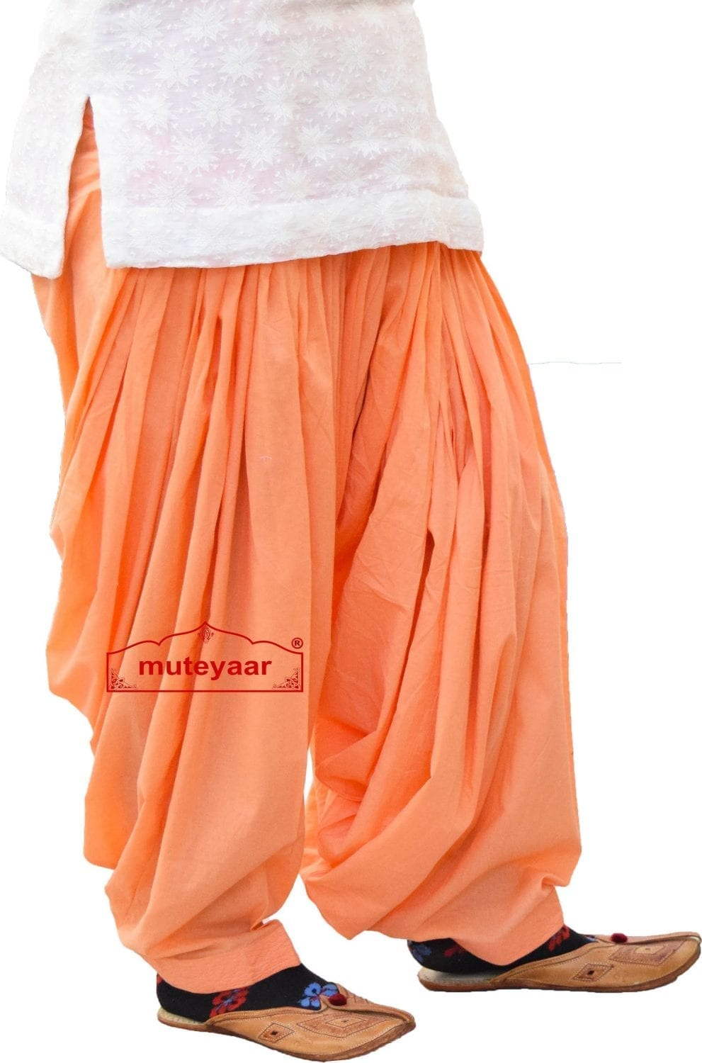 Peach Patiala Salwar 100% Pure Cotton from Patiala City - Custom Stitched 1
