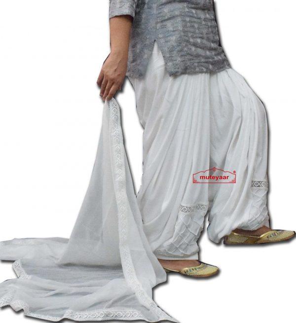 Barfi Pintex Designer Lace Work Patiala Salwar Dupatta set from Patiala City