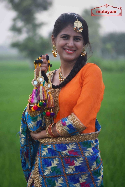 Multi Colour Laddoo Mirrors Paranda parandi Pure Punjabi style ethnic Tassles 2