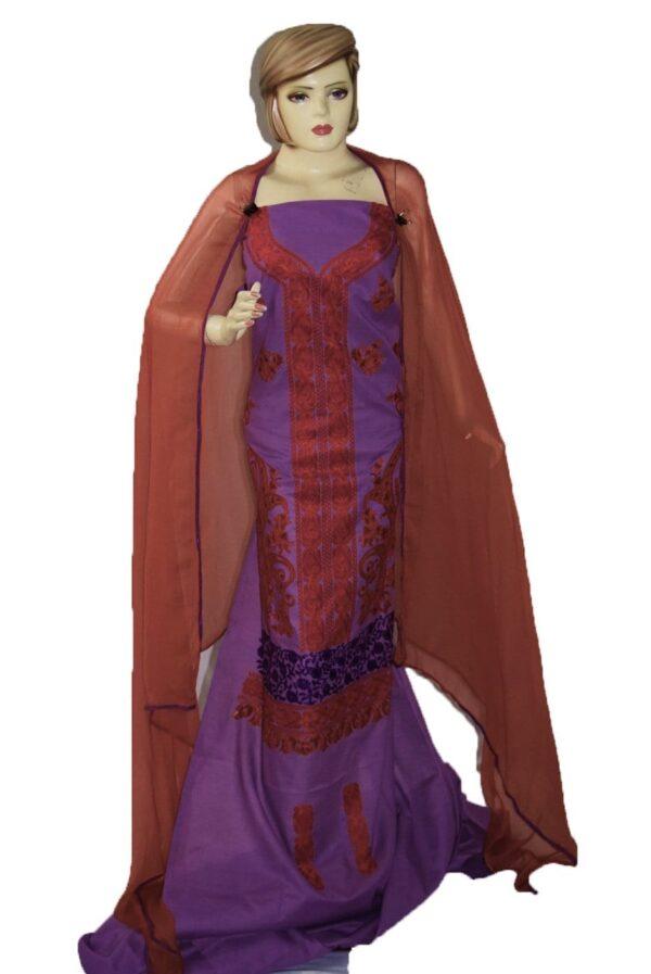 Kashmiri Embroidery Cotton Salwar Suit Fabric with matching chiffon dupatta C0634
